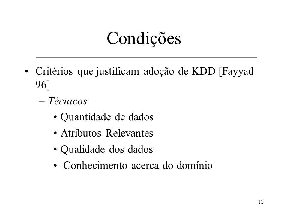 Condições Critérios que justificam adoção de KDD [Fayyad 96] Técnicos